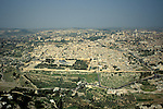 Israel, an aerial view from the east of Jerusalem Old City