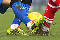 Mark Bryne of Gillingham misses the ball with his tackle and connects with the boot of Barnsley's Jacob Brown during Gillingham vs Barnsley, Sky Bet EFL League 1 Football at The Medway Priestfield Stadium on 9th February 2019