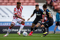 27th June 2020; Bet365 Stadium, Stoke, Staffordshire, England; English Championship Football, Stoke City versus Middlesbrough; Tyrese Campbell of Stoke City under pressure from Marvin Johnson of Middlesbrough