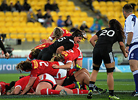 Charmaine Smith drives into a ruck during the 2017 International Women's Rugby Series rugby match between the NZ Black Ferns and Canada at Westpac Stadium in Wellington, New Zealand on Friday, 9 June 2017. Photo: Dave Lintott / lintottphoto.co.nz