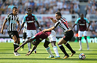 West Ham United's Michail Antonio and Newcastle United's Javi Manquillo<br /> <br /> Photographer Rob Newell/CameraSport<br /> <br /> The Premier League - Newcastle United v West Ham United - Saturday 26th August 2017 - St James' Park - Newcastle<br /> <br /> World Copyright &copy; 2017 CameraSport. All rights reserved. 43 Linden Ave. Countesthorpe. Leicester. England. LE8 5PG - Tel: +44 (0) 116 277 4147 - admin@camerasport.com - www.camerasport.com
