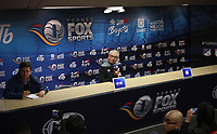BOGOTÁ - COLOMBIA, 28-01-2018:Conferencia de prensa ofrecida por Gregorio Pérez director técnico campeon del Independiente Santa Fe  al finalizar el encuentro contra el América de Cali, partido por el Torneo Fox Sports 2018 jugado en el estadio Nemesio Camacho El Campin de la ciudad de Bogotá. /Press conference offered by Gregorio Perez champion  coach of Independiente Santa Fe at the end of the match against America of Cali ,match for the Fox Sports Tournament 2018  played at Nemesio Camacho El Campin Stadium in Bogota city. Photo: VizzorImage / Felipe Caicedo / Staff.