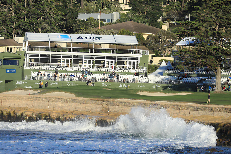 18th hole during the final round of the AT&T Pro-Am, Pebble Beach Golf Links, Monterey, USA. 11/02/2019<br /> Picture: Golffile   Phil Inglis<br /> <br /> <br /> All photo usage must carry mandatory copyright credit (© Golffile   Phil Inglis)