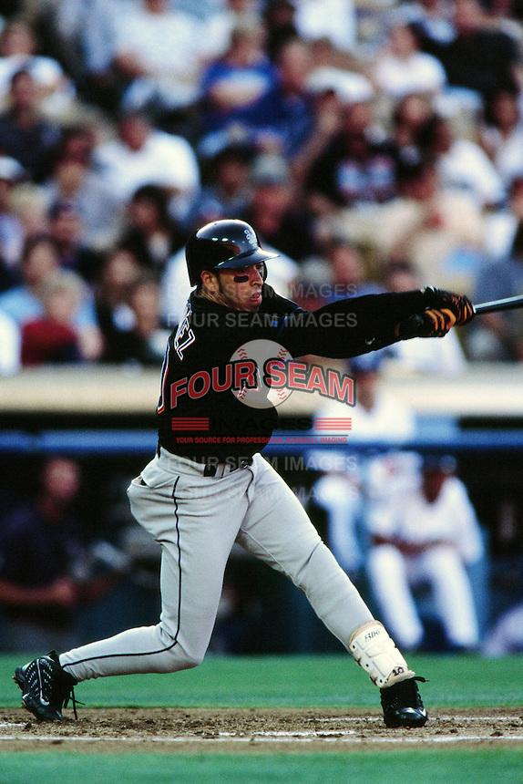 Rey Ordonez of the New York Mets during a game against the Los Angeles Dodgers at Dodger Stadium circa 1999 in Los Angeles, California. (Larry Goren/Four Seam Images)
