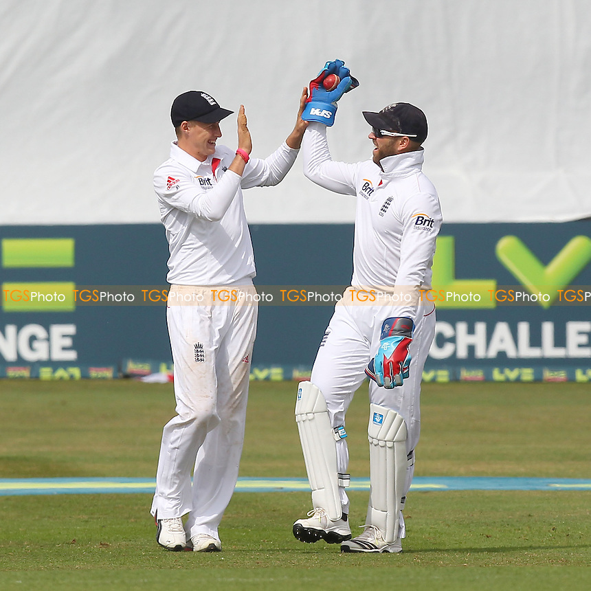 Matt Prior (R) and Joe Root of England celebrate the wicket of Ravi Bopara - Essex CCC vs England - LV Challenge Match at the Essex County Ground, Chelmsford - 01/07/13 - MANDATORY CREDIT: Gavin Ellis/TGSPHOTO - Self billing applies where appropriate - 0845 094 6026 - contact@tgsphoto.co.uk - NO UNPAID USE