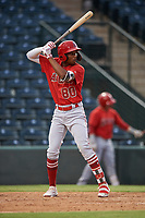 William Rivera (80), of the AZL Angels, at bat during an Arizona League game against the AZL Padres 1 on August 5, 2019 at Tempe Diablo Stadium in Tempe, Arizona. AZL Padres 1 defeated the AZL Angels 5-0. (Zachary Lucy/Four Seam Images)