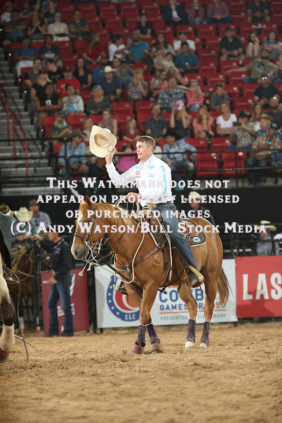 Tuf Cooper for 7.92 during the second round of the Las Vegas WCRA rodeo. Photo by Andy Watson