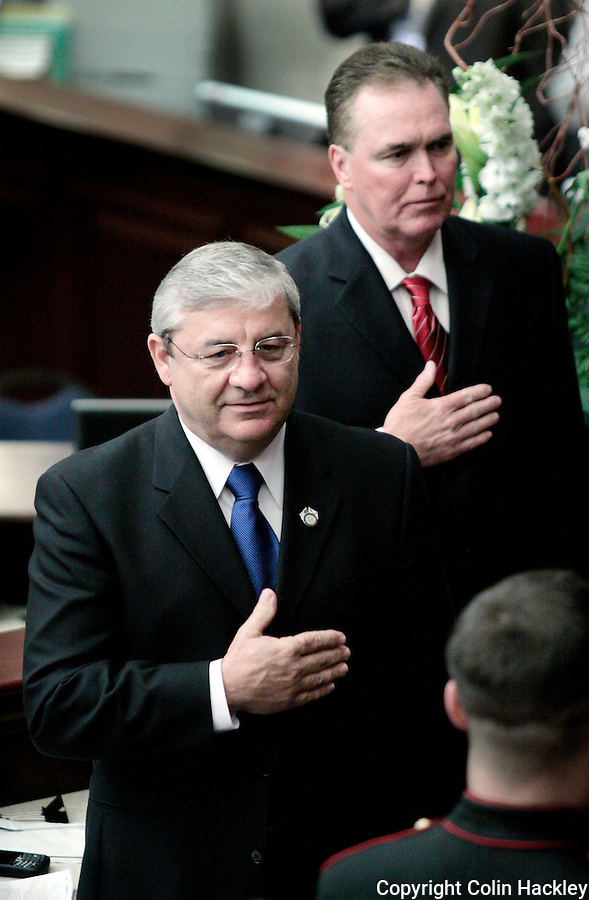 TALLAHASSEE, FL. 3/3/09-Speaker Larry Cretul, R-Ocala, left, is joined by Rep. Ron Reagan, R-Bradenton, as they say the Pledge of Allegiance during opening day ceremonies March, 3, 2009 at the Capitol in Tallahassee...COLIN HACKLEY PHOTO