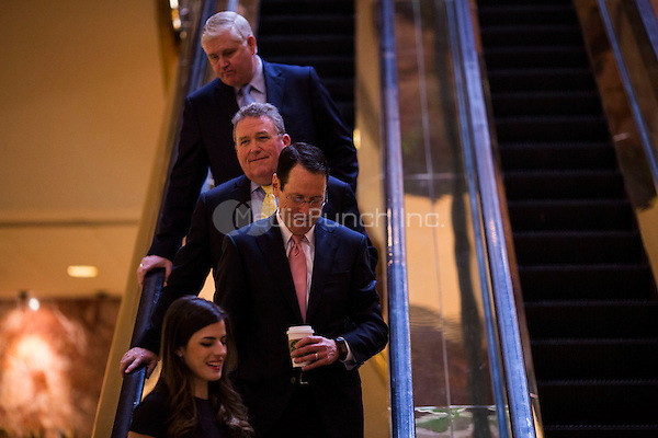 Randall Stephenson, the CEO of AT&amp;T (in front with pink tie) arrives at Trump Tower in Manhattan, New York, U.S., on Thursday, Thursday, January 12, 2017. <br /> Credit: John Taggart / Pool via CNP /MediaPunch