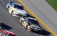 Apr 26, 2009; Talladega, AL, USA; NASCAR Sprint Cup Series driver Ryan Newman (39) leads Juan Pablo Montoya during the Aarons 499 at Talladega Superspeedway. Mandatory Credit: Mark J. Rebilas-