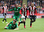 Mark Duffy of Sheffield Utd gets past Ben Davies of Preston North End during the championship match at the Bramall Lane Stadium, Sheffield. Picture date 28th April 2018. Picture credit should read: Simon Bellis/Sportimage