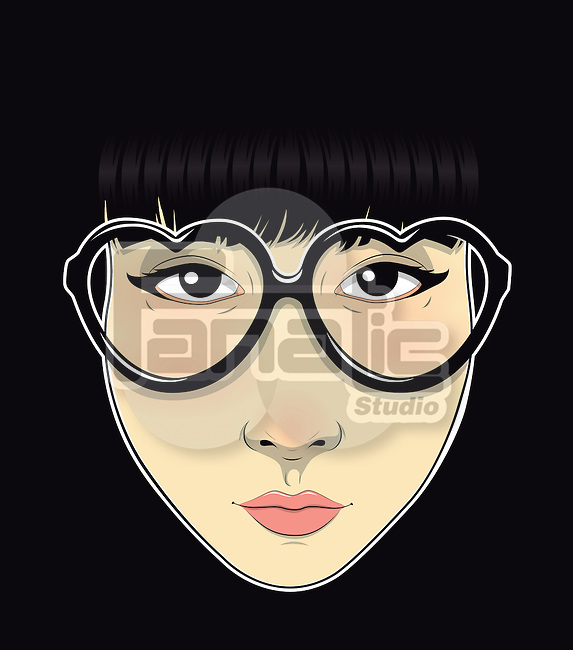 Illustration of trendy teenage girl wearing heart shape glasses against black background