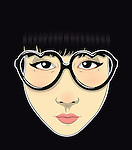 Illustration of trendy teenage girl wearing heart shape glasses against black background