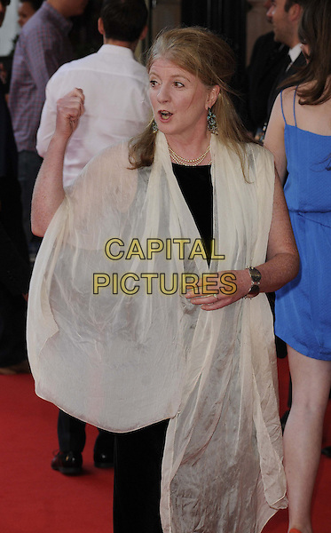 Felicity Montagu<br /> attended the &quot;Alan Partridge: Alpha Papa&quot; UK film premiere, Vue West End cinema, Leicester Square, London, England, UK, <br /> 24th July 2013.<br /> half  length black dress hand gesture wrap white cream shawl pashmina <br /> CAP/CAN<br /> &copy;Can Nguyen/Capital Pictures