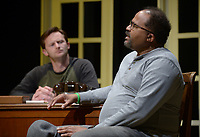 NWA Democrat-Gazette/ANDY SHUPE<br /> Actors Billy Bryant (left), playing the part of Boolie Werthan, and Ralph Sweatte, playing the part of Hoke Colburn, speak Tuesday, March 6, 2018, during rehearsal for &quot;Driving Miss Daisy&quot; at the Arts Center of the Ozarks in Springdale. The production runs March 9-11 and 16-18.