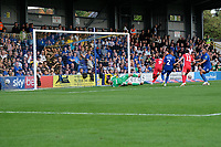 Ike Ugbo (9) of Scunthorpe United  scores the third goal for his team and celebrates during AFC Wimbledon vs Scunthorpe United, Sky Bet EFL League 1 Football at the Cherry Red Records Stadium on 15th September 2018