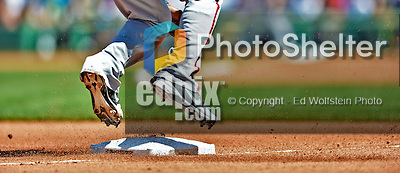 10 June 2012: Washington Nationals outfielder Roger Bernadina holds up at third base during action against the Boston Red Sox at Fenway Park in Boston, MA. The Nationals defeated the Red Sox 4-3 to sweep their 3-game interleague series. Mandatory Credit: Ed Wolfstein Photo