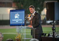 Master of Ceremonies Paul Finchamp '80, President, Tiger Club Board of Directors. Alumni, family, staff and students at the Occidental College Athletics Hall of Fame event, part of Homecoming weekend, Oct. 24, 2014 on Patterson Field. (Photo by Marc Campos, Occidental College Photographer)