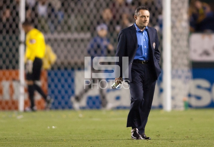 Philadelphia Union newly appointed Vice President & head coach Peter Nowak heads across the field. The LA Galaxy defeated the Philadelphia Union 1-0 at Home Depot Center stadium in Carson, California on  April  2, 2011....