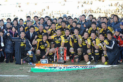 Suntory Sungoliath team group,.JANUARY 27, 2013 - Rugby :.Suntory Sungoliath players and head coach Naoya Okubo celebrate after winning the Japan Rugby Top League 2012-2013 Playoff Tournament Final match between Suntory Sungoliath 19-3 Toshiba Brave Lupus at Prince Chichibu Memorial Stadium in Tokyo, Japan. (Photo by AFLO)