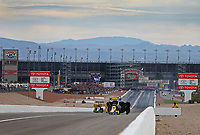 Oct 30, 2016; Las Vegas, NV, USA; Overall view during NHRA top fuel dragster driver Leah Pritchett (right) defeats Brittany Force during eliminations of the Toyota Nationals at The Strip at Las Vegas Motor Speedway. Mandatory Credit: Mark J. Rebilas-USA TODAY Sports