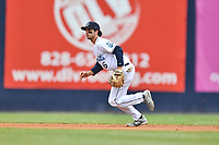 Asheville Tourists shortstop Terrin Vavra (6) reacts to the ball during a game against the Augusta GreenJackets at McCormick Field on April 7, 2019 in Asheville, North Carolina. The GreenJackets  defeated the Tourists 11-2. (Tony Farlow/Four Seam Images)