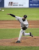 June 19, 2004:  Pitcher Daniel Barone of the Jamestown Jammers, Single-A NY-Penn League affiliate of the Florida Marlins, during a game at Dwyer Stadium in Batavia, NY.  Photo by:  Mike Janes/Four Seam Images
