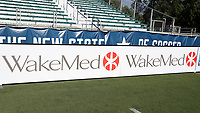 Cary, North Carolina  - Saturday August 05, 2017: WakeMed signboard prior to a regular season National Women's Soccer League (NWSL) match between the North Carolina Courage and the Seattle Reign FC at Sahlen's Stadium at WakeMed Soccer Park. The Courage won the game 1-0.