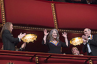2016 Kennedy Center Honoree pianist Martha Argerich waves at the beginning of the Kennedy Center Honors, at the Kennedy Center, December 4, 2016, Washington, DC.  The 2016 honorees are: Argentine pianist Martha Argerich; rock band the Eagles; screen and stage actor Al Pacino; gospel and blues singer Mavis Staples; and musician James Taylor. Photo Credit: Aude Guerrucci/CNP/AdMedia