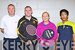 Competing in the County badminton championships in Killarney sports centre on Sunday were l-r: John Murphy, Cieran Crehan both Killarney, Elaine Clifford and Chris Thomas both Tralee
