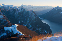 Sunrise on Lago Ceresio and Porlezza from Monte Boglia, Ticino, Switzerland, Janiuary 2015.