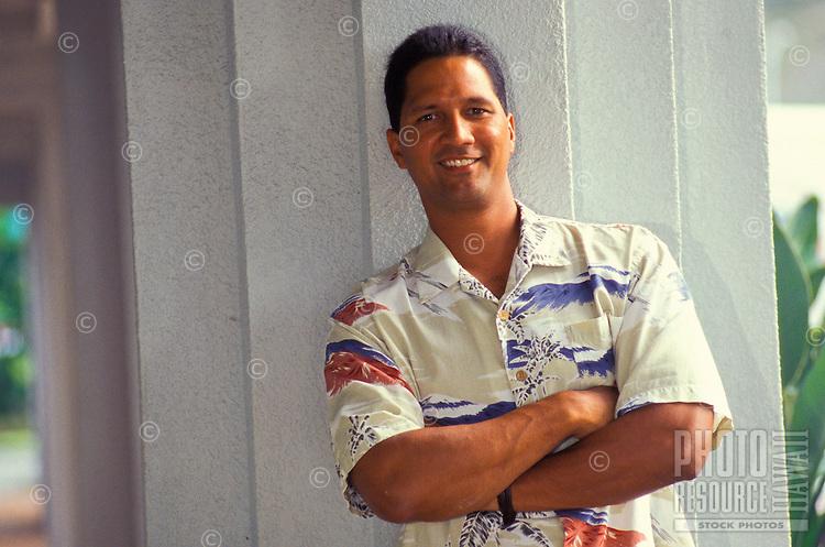 Young Hawaiian man in aloha shirt