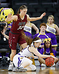 SIOUX FALLS, SD: MARCH 7: Jenna Gunn #32 guards Taylor Higginbotham #24 of Western Illinois during the Women's Summit League Basketball Championship Game on March 7, 2017 at the Denny Sanford Premier Center in Sioux Falls, SD. (Photo by Dick Carlson/Inertia)