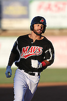 Zach Cone (22) of the High Desert Mavericks runs the bases during a game against the San Jose Giants at Mavericks Stadium on June 14, 2015 in Adelanto, California. High Desert defeated San Jose, 7-5. (Larry Goren/Four Seam Images)