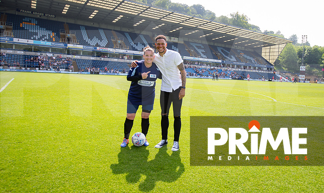 Sam Bailey with Nathan Tyson during the Sellebrity Soccer match for Wycombe Sports & Education Trust at Wycombe Wanderers, Adams Park, High Wycombe, England on 28 May 2018. Photo by Andy Rowland.