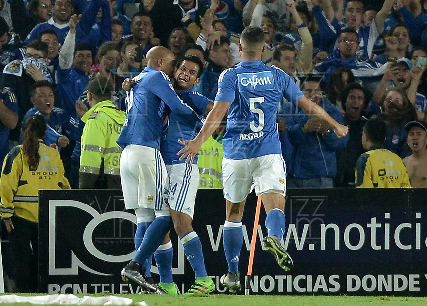 BOGOTA - COLOMBIA -31 -03-2016: David Silva  jugador de Millonarios celebra después de anotar su segundo gol a Nacional durante partido aplazado de la fecha 9 entre Millonarios Atletico Nacional, de la Liga Aguila I-2016, jugado en el estadio Nemesio Camacho El Campin de la ciudad de Bogota.  / David Silva player of Millonarios celebrates after scoring his second goal to Nacional, during a postponed match between Millonarios and Atletico Nacional,  for the date 9 of the Liga Aguila I-2016 at the Nemesio Camacho El Campin Stadium in Bogota city. Photo: VizzorImage / Gabriel Aponte / Staff.
