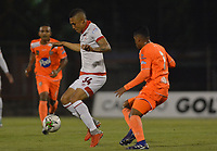 ENVIGADO- COLOMBIA, 31-03-2019.Brayan Perea jugador del Independiente Santa Fe durante partido contra Envigado  por la fecha 12 de la Liga Águila I 2019 jugado en el estadio Polideportivo Sur de la ciudad de Medellín. /Brayan Perea  player of Independiente Santa Fe during the match agaisnt of Envigado for the date 12 of the Liga Aguila I 2019 played at Polideportivo Sur stadium in Medellin  city. Photo: VizzorImage / Leon Monsalve/ Contribuidor
