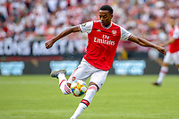 Landover, MD - July 23, 2019: Arsenal Joe Willock (28) attempts a shot during the match between Arsenal and Real Madrid at FedEx Field in Landover, MD.   (Photo by Elliott Brown/Media Images International)