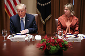 United States President Donald J. Trump speaks as the US Ambassador to the United Nations Kelly Kraft listens during a luncheon with the Permanent Representatives of the United Nations Security Council in the Cabinet Room of the White House on December 5, 2019 in Washington, DC.<br /> Credit: Oliver Contreras / Pool via CNP