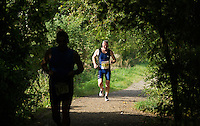 28 SEP 2014 - STOWMARKET, GBR - Nigel Vincent makes his way round the 5km run course during the 2014 West Suffolk Triathlon in Stowmarket in Suffolk, Great Britain (PHOTO COPYRIGHT © 2014 NIGEL FARROW, ALL RIGHTS RESERVED)