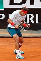 Lo spagnolo Rafael Nadal esulta durante gli Internazionali d'Italia di tennis a Roma, 16 Maggio 2013..Spain's Rafael Nadal reacts after winning a point during the Italian Open Tennis tournament ATP Master 1000 in Rome, 16 May 2013.UPDATE IMAGES PRESS/Isabella Bonotto