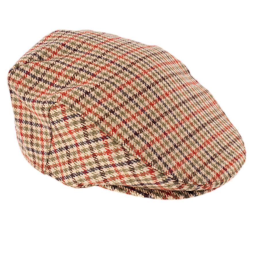 Studio photograph of mens tweed flat cap.