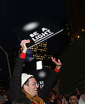 The Ghostlight Project to light a light and make a pledge to stand for and protect the values of inclusion, participation, and compassion for everyone - regardless of race, class, religion, country of origin, immigration status, (dis)ability, gender identity, or sexual orientation at The TKTS Stairs on January 19, 2017 in New York City.