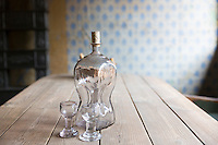Glass decanter and glasses in period interior  at Den Gamle By, The Old Town, folk museum at Aarhus, Denmark