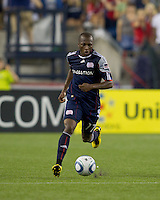 New England Revolution midfielder Sainey Nyassi (17) brings the ball forward. The New England Revolution defeated LA Galaxy, 2-0, at Gillette Stadium on July 10, 2010.