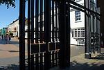Iron gates at entrance to London Street, Basingstoke Hampshire, England