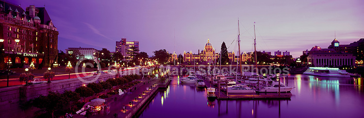 Victoria, BC, Vancouver Island, British Columbia, Canada - Fairmont Empress Hotel and BC Parliament Buildings along the Inner Harbour, Panoramic View