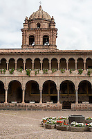 Peru, Cusco.  Bell Tower of Santro Domingo Monastery, rebuilt after 1915 Earthquake.  Andean baroque Sytyle.  The monastery was built on and around the site of the Qorikancha, Inca Temple of the Sun.