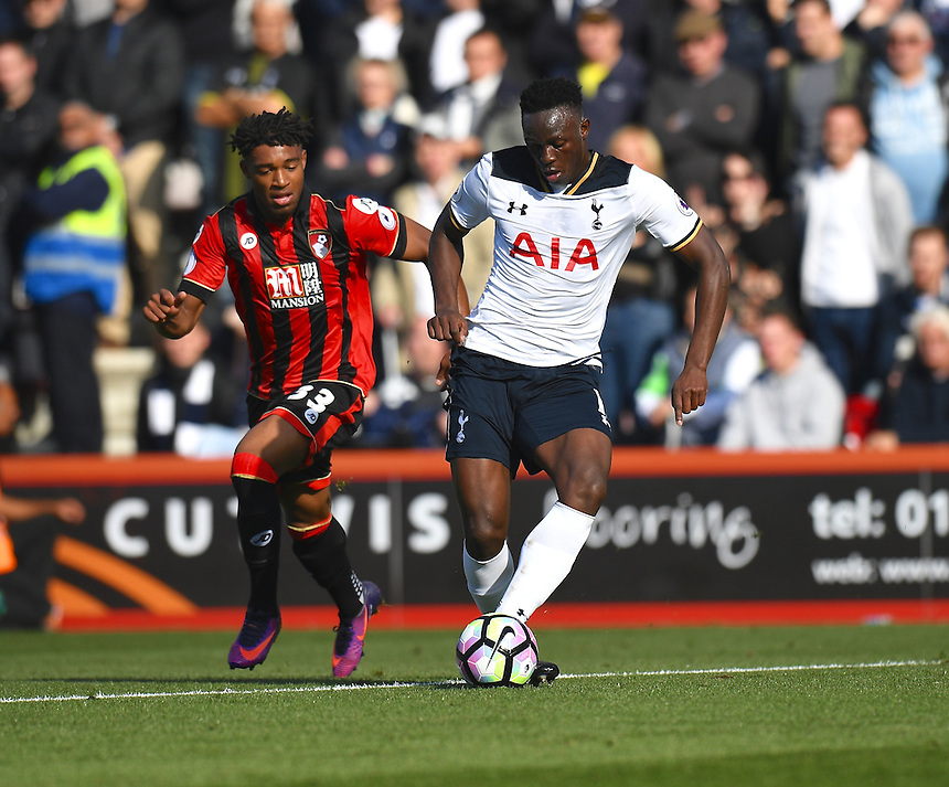 Bournemouth's Jordon Ibe battles with Tottenham Hotspur's Victor Wanyama (R)<br /> <br /> Bournemouth 0 v 0 Tottenham<br /> <br /> Photographer David Horton/CameraSport<br /> <br /> The Premier League - Bournemouth v Tottenham Hotspur - Saturday 22nd October 2016 - Vitality Stadium - Bournemouth<br /> <br /> World Copyright &copy; 2016 CameraSport. All rights reserved. 43 Linden Ave. Countesthorpe. Leicester. England. LE8 5PG - Tel: +44 (0) 116 277 4147 - admin@camerasport.com - www.camerasport.com