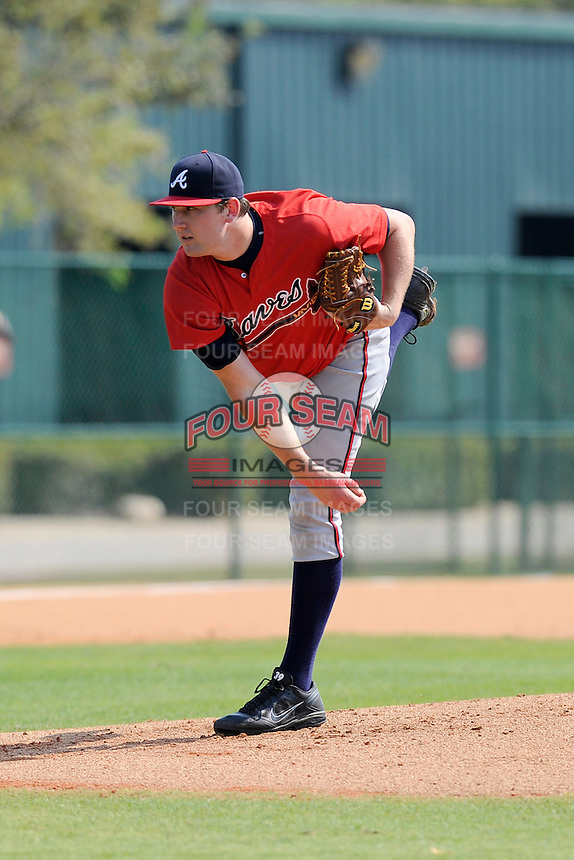 Pitcher Tyler Brosius (87) of the Atlanta Braves farm system in a Minor League Spring Training intrasquad game on Wednesday, March 18, 2015, at the ESPN Wide World of Sports Complex in Lake Buena Vista, Florida. (Tom Priddy/Four Seam Images)